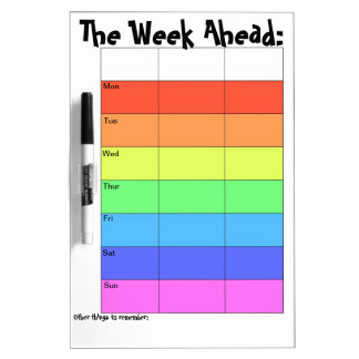 Weekly Planner- Rainbow Dry Erase Boards