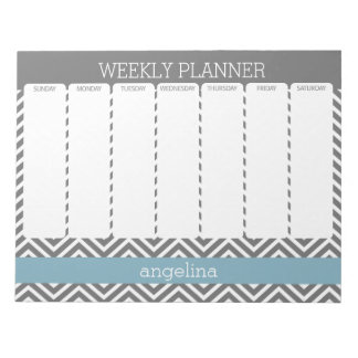 Weekly Planner Robin Egg Blue and Gray Chevrons Notepad