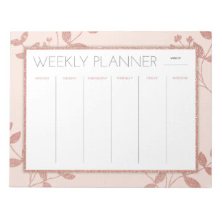 Weekly Planner Rose Gold Notepad