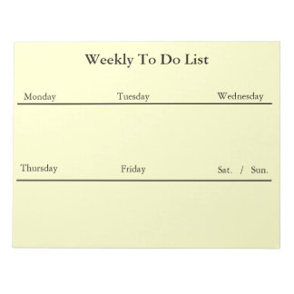 Weekly To Do List Notepad (White)