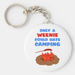 Weenies Hate Camping Basic Round Button Key Ring