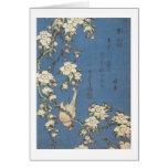 Weeping Cherry and Bullfinch, Hokusai, 1834