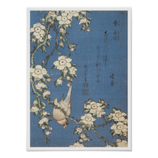 Weeping Cherry and Bullfinch, Hokusai, 1834 Poster
