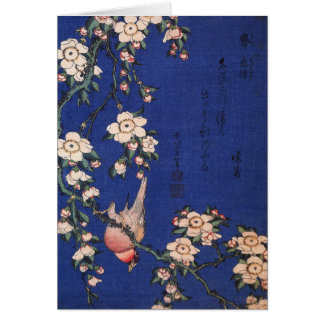 Weeping Cherry and Bullfinch, Hokusai Card