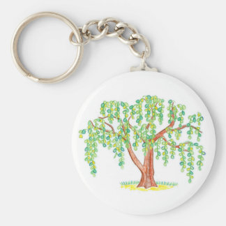 Weeping Willow Art Basic Round Button Key Ring