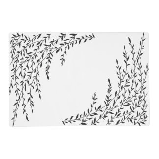 Weeping Willow Black White Branch Leaves Tree Placemat