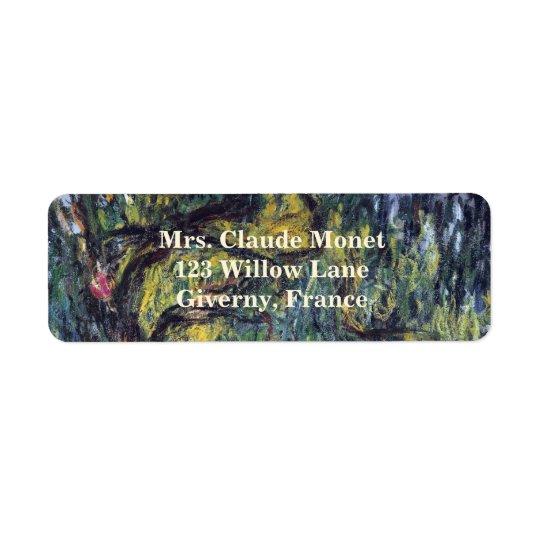 Weeping Willow by Claude Monet, Vintage Fine Art Return Address Label