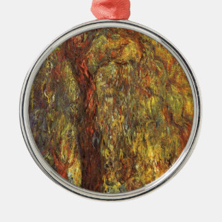 Weeping Willow by Claude Monet, Vintage Fine Art Silver-Colored Round Decoration