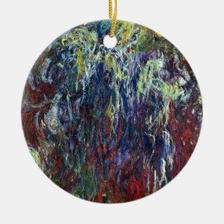 Weeping Willow, Giverny Claude Monet  painting Double-Sided Ceramic Round Christmas Ornament