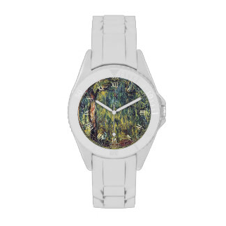 Weeping Willow II by Monet, Vintage Impressionism Wristwatch