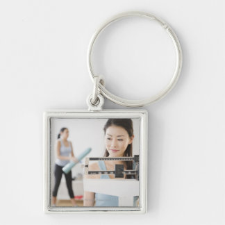 Weigh-In Silver-Colored Square Key Ring