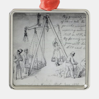 Weighing out stones on Francis Street, London Christmas Ornament