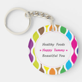 Weight & Health Conscious Single-Sided Round Acrylic Key Ring