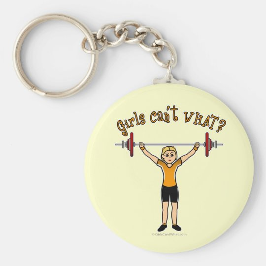 Weight Lifter (Blonde) Basic Round Button Key Ring