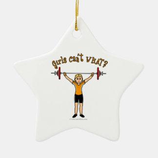 Weight Lifter (Blonde) Christmas Ornament