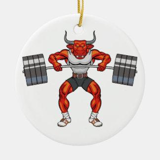 weight lifting bull 2 round ceramic decoration
