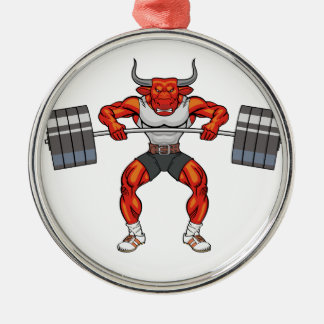 weight lifting bull 2 Silver-Colored round decoration