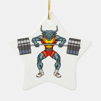 weight lifting bull 3 ceramic star decoration
