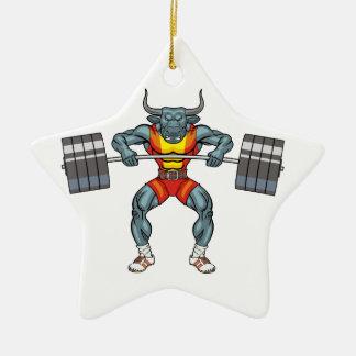 weight lifting bull 3 christmas ornament