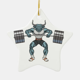 weight lifting bull christmas ornament