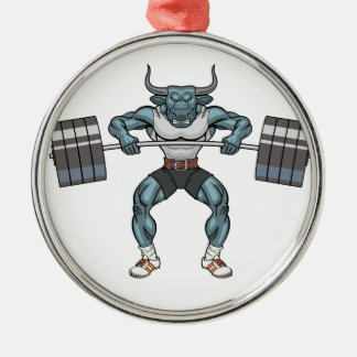 weight lifting bull Silver-Colored round decoration