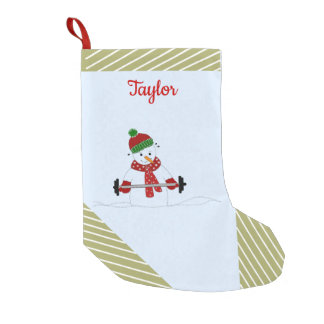 Weight Lifting Snowman Gold Stripes Small Christmas Stocking