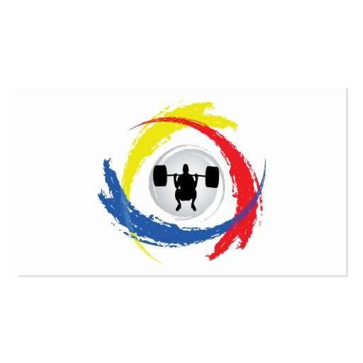 Weight Lifting Tricolor Emblem Business Card