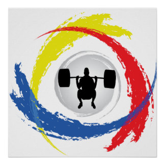 Weight Lifting Tricolor Emblem Poster