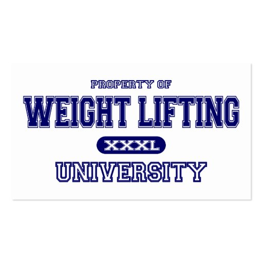 Weight Lifting University Business Card Templates