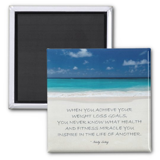 Weight Loss Motivational Magnet: Beach 17 Square Magnet