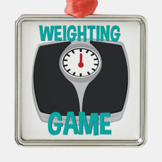 Weighting Game Silver-Colored Square Decoration