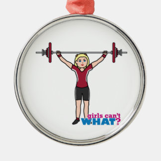 Weightlifter Girl - Light/Blonde Silver-Colored Round Decoration