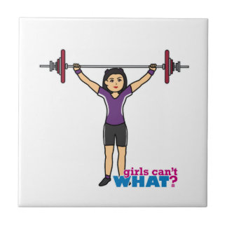 Weightlifter Girl - Medium Small Square Tile