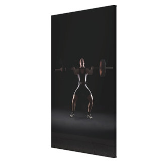 Weightlifter jerking weight canvas print