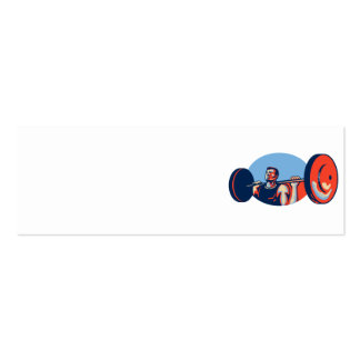 Weightlifter Lifting Weights Retro Business Cards