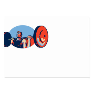 Weightlifter Lifting Weights Retro Business Card Templates