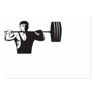 Weightlifter Lifting Weights Retro Business Card Template