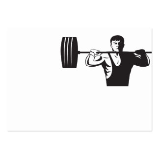 Weightlifter Lifting Weights Retro Business Card