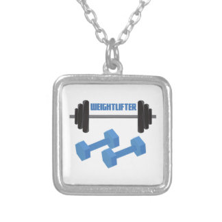 Weightlifter Square Pendant Necklace