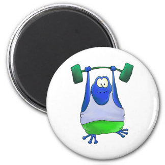 Weightlifting Frog 6 Cm Round Magnet