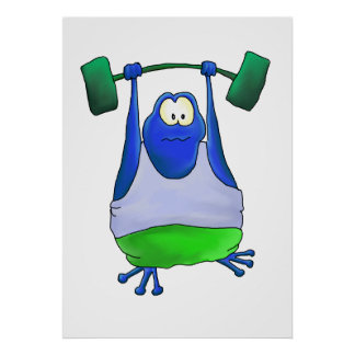 Weightlifting Frog Poster