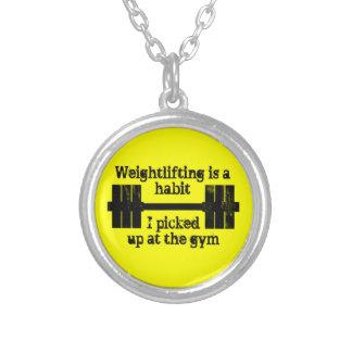 Weightlifting Habit Round Pendant Necklace