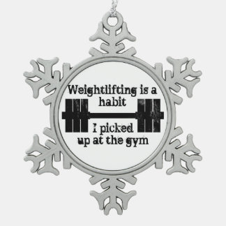 Weightlifting Habit Snowflake Pewter Christmas Ornament