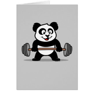 Weightlifting Panda Greeting Card