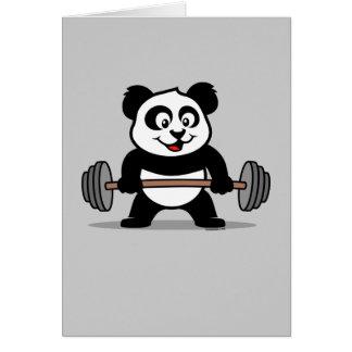 Weightlifting Panda Greeting Cards