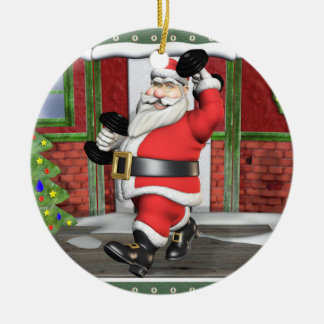 Weightlifting Santa Round Ceramic Ornament