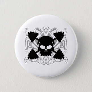 Weightlifting Skull 6 Cm Round Badge