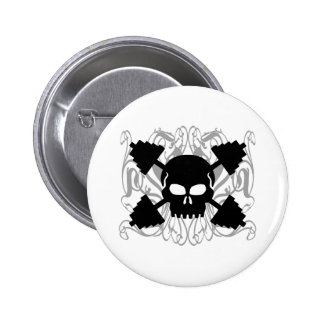 Weightlifting Skull 6 Cm Round Badge