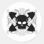 Weightlifting Skull Round Sticker