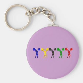 Weightlifting Snatch Clean and Jerk sports Basic Round Button Key Ring